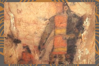 pintura en pared de un guerrero Olmeca.