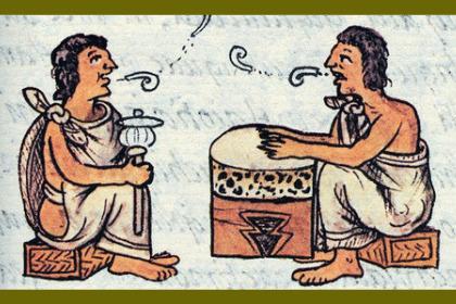 Pintura mixteca de dos hombre platicando.