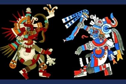 izquierda Dios Quetzalcoatl derecha Dios Tlaloc ( características de sus animales y su elemento)