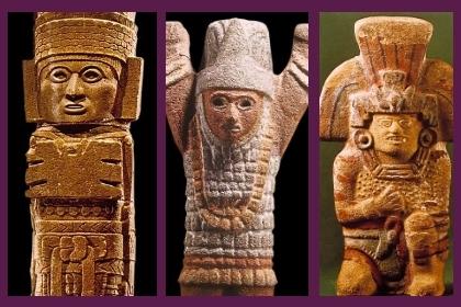 Representaciones de sacerdotes y Dioses tallados en piedra.