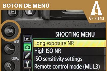 Botón de menú de la cámara