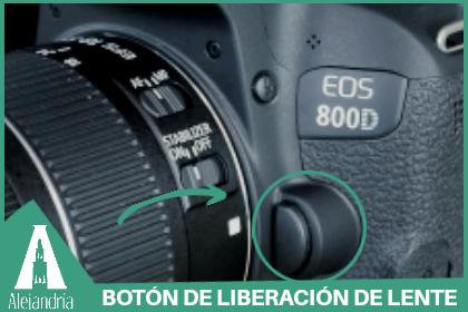 botón de liberación del lente de la cámara