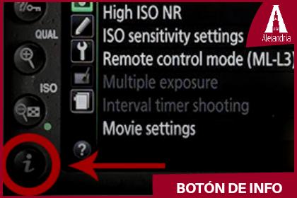 botón de info de la cámara