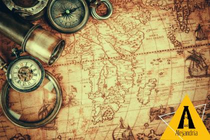 Mapa antiguo que simboliza el tiempo en la narración