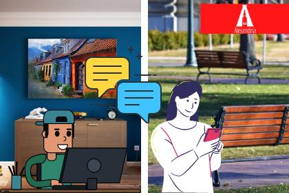 dos personas comunicándose de forma virtual o digital